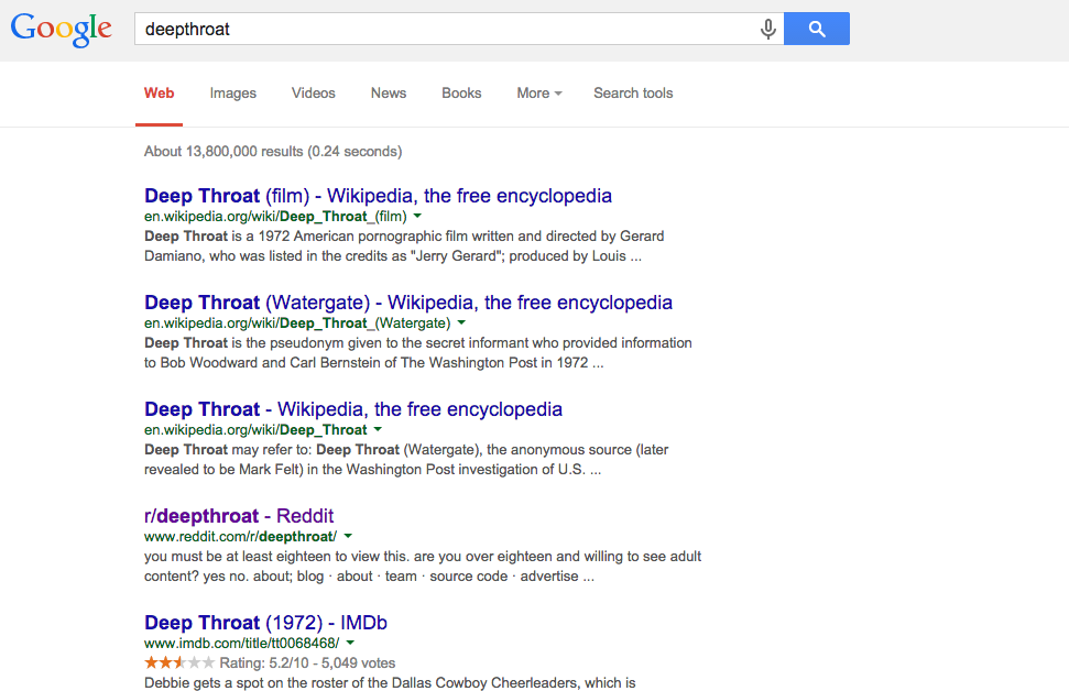 Google Deep Throat Screenshot