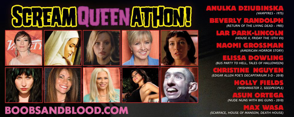 Fundraising for Breast Cancer Charity, the BOOBS & BLOOD Film Festival opens on Oct. 5th with the 1st annual, celebrity packed and party-themed SCREAM QUEEN-ATHON.