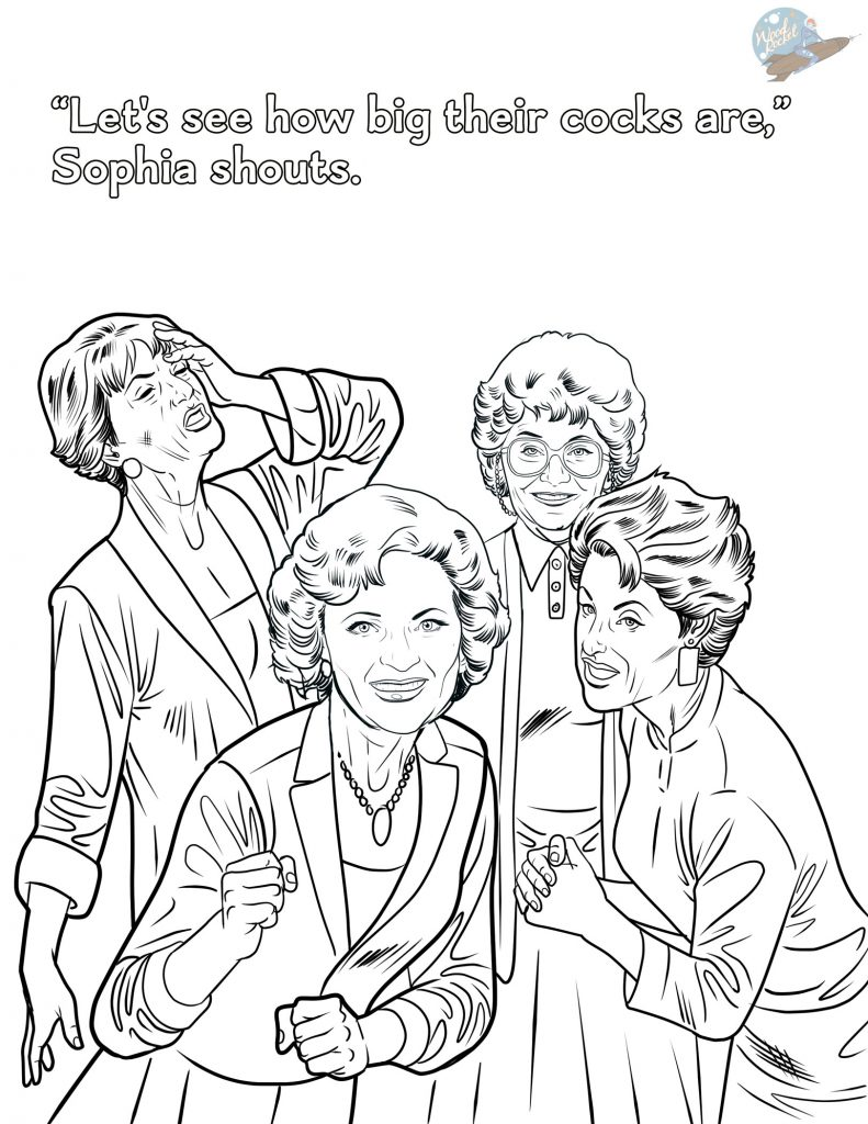 Woodrocket golden girls coloring book sample page